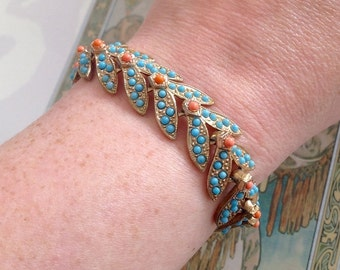 Vintage Gold Tone Faux Seed Turquoise Coral Bracelet