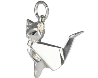 Origami Jewellery Cat pendant 100% Sterling