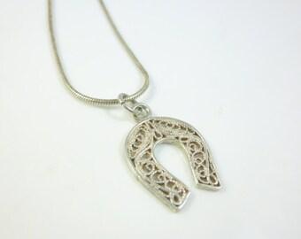 Horseshoe Necklace, Sterling Silver Horseshoe Pendant, Filigree Pendant, Vintage