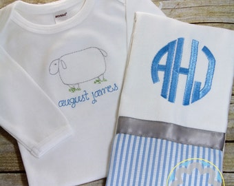 New Baby Gift Set - Monogrammed, Personalized Gown and Burp Cloth - Baby Gift - Baby Shower Gift