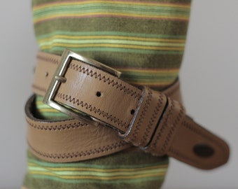 70's vintage cowboy leather belt with metal trims