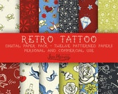 Retro Tattoo Digital Paper Pack for Scrapbooking, Cards, and More