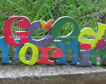 Wood letters Good Morning, wood sign, plywood alphabets, wood decor, rainbow multi-coloured