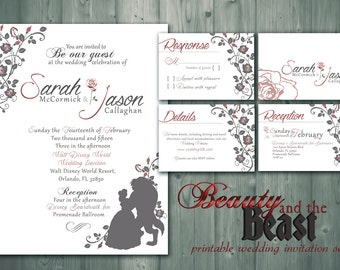 beauty and the beast printable wedding invitation rsvp detail card monogram - Beauty And The Beast Wedding Invitations