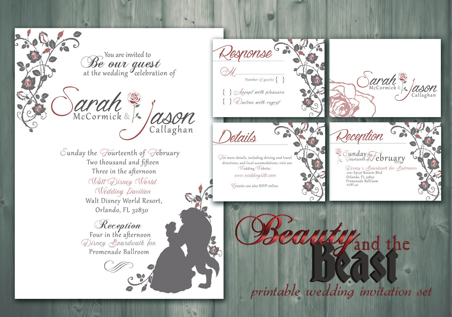 Beauty and the beast printable wedding invitation rsvp for Beauty and the beast wedding invitation template free