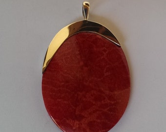 Handmade Sterling 925 silver and coral pendant.