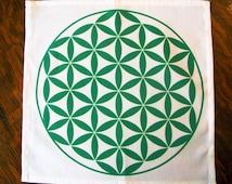 "12""x12"" Prosperity Abundance Green Flower of Life Crystal Grid Cloth Sacred Geometry Symbol Sacred Space Good Fortune  Financial Success"