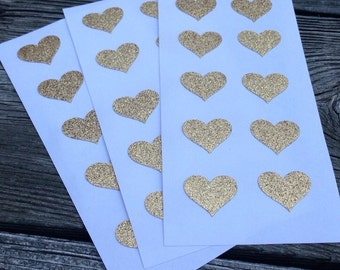 Glitter Envelope Seals Gold Stickers heart - Wedding Stationary - Sheet of 10 Stickers