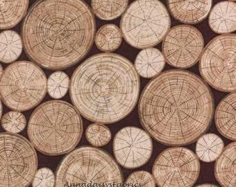 "Wood Logs Fabric, Hoffman California L7257 Meadow Rain, Woodgrain Fabric, Log Fabric, Brown Wood Grain Fabric, Woodland Quilt Fabric, 15"""