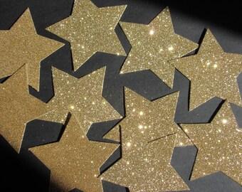 10x 9cm Gold Glitter Star die cuts