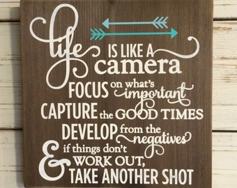 LIFE is like a CAMERA Handpainted Wood Sign