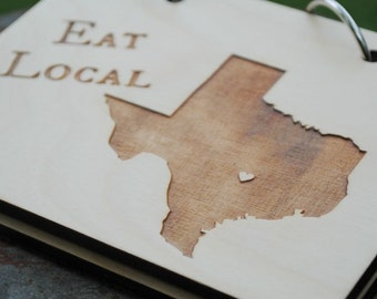 Eat Local ANY STATE or COUNTRY Recipe Card Book Gift for Newlyweds, Wedding, Housewarming Gift, State Love Customize with Heart over City