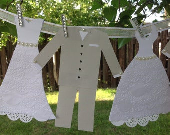 Bride Groom Garland- Wedding Dress Garland - Bridal Shower Decoration