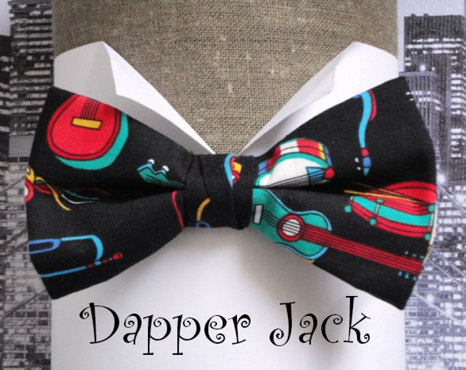 Featured listing image: Bow tie, men's bow tie, pre tied bow tie, musical instruments on black cotton