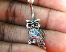 Rhinestone owl 14 gauge stainless steel belly navel ring, body jewelry, 14g rhinestone owl