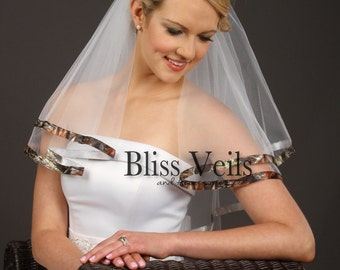 Camo Bridal Veil,  Elbow Wedding Veil, Camo Veil, True Timber Veil, Snowfall Pink Veil, Mossy Oak Veil