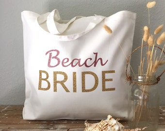 Beach Bride Tote Bag: bride tote, wedding tote or honeymoon tote