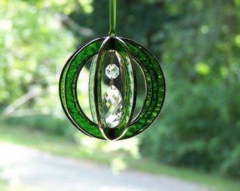 Stained Glass suncatcher sphere-ball-orb with crystal prism green, Green Stained Glass Suncatcher, Green Prism
