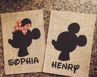 Mickey & Minnie - Personalized Name - Birthdate - Burlap - Print - 8.5x11 - Silhouette - Nursery - Disney