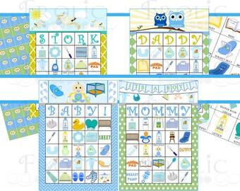 Baby Shower Bingo: 40 Cards Baby Boy INSTANT DOWNLOAD