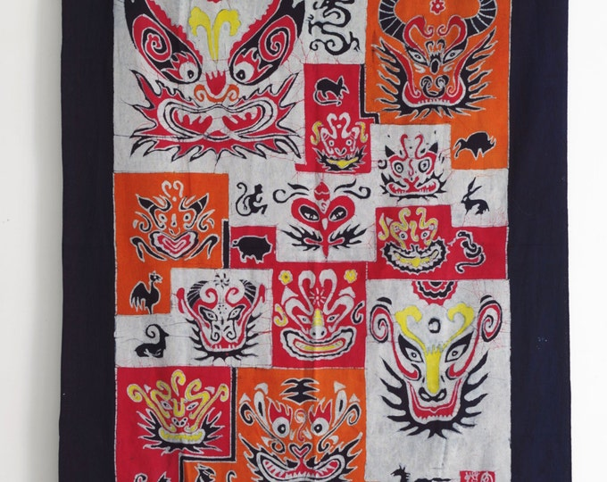 Chinese Zodiac Twelve Animals Batik Tapestry Abstract Painting Wall Decor