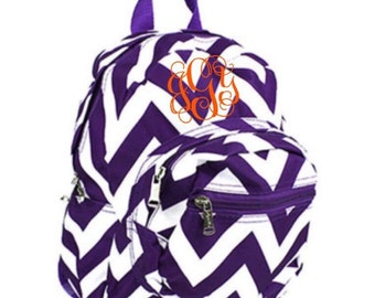 Small Purple Chevron Backpack with FREE Monogram