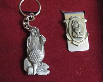 Pewter  Key Chain and Money  Clip   Golf  design   unused