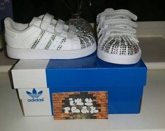 Customised Blinged White  Adidas trainers