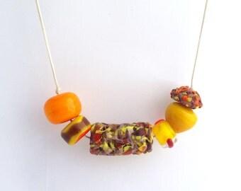 Citrus Splash Lampwork beaded necklace- handmade glass beads on cotton cord,
