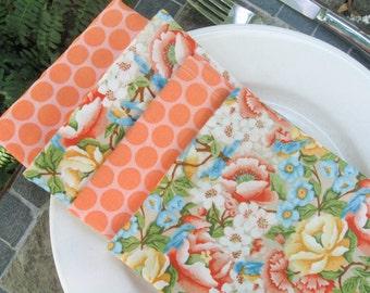 Pretty Cloth Napkins, floral napkins, Set of 4, cloth napkin set, hostess gift, bridal shower gift, picnic napkins, reusable napkins