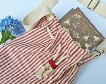 Cotton Bucket Bag, Drawstring Bag, summer bag, Striped cotton bag, shoulder bag, cross-body bag, boho bag, drawstring purse, lined