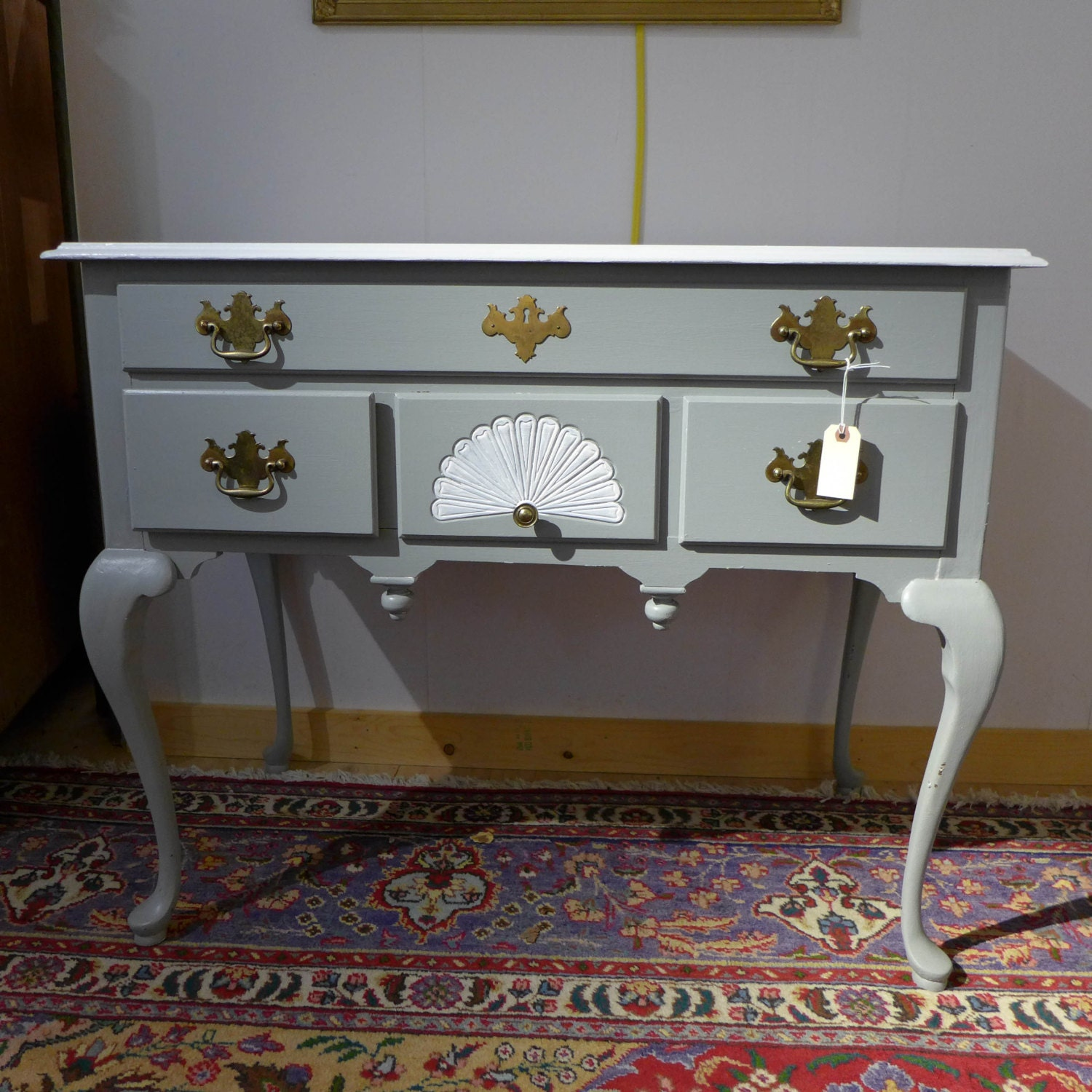 Swedish gray queen anne sideboard painted white top white for Sideboard queens