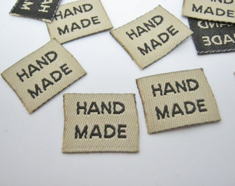 """25 Fabric Labels """"Handmade"""" 18mm (3/4"""" inch) Sew On Hand Made Clothes Labels Tags Sewing Accessories"""