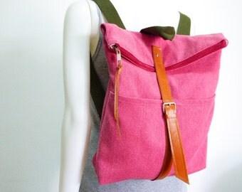 Canvas Backpack leather closures/Rucksack/travel bag/School bag/canvas backpack/School Backpack/book bag