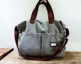 Gray Shoulder bag/Messenger bag/Diaper bag-Tote bag-large bag/ /Crossbody bag/2 pocket outside