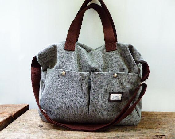 gray shoulder bag messenger bag diaper bag tote bag large bag. Black Bedroom Furniture Sets. Home Design Ideas
