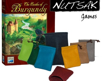 Premier Castles of Burgundy Pouch Bundle - (1) Large Premium 6x9  Draw Bag + (7) Original 4x6 sacks for resources, pieces, and player pawns.