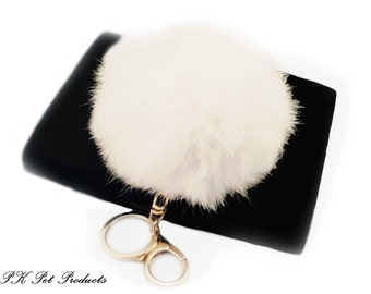 Jumbo Deluxe Real Rabbit Fur 9cm Pom Pom Keychain-White Free Ship