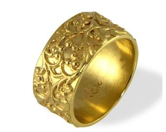 Filigree Wedding Band , Vintage Style Ring , Wide Wedding , Band , Yellow Gold , Women's Wedding Band , Gold Wedding Ring , Antique Rings,