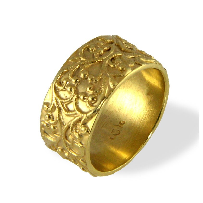 filigree wedding band vintage style ring wide wedding. Black Bedroom Furniture Sets. Home Design Ideas