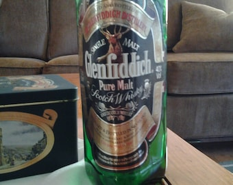 Glenfiddich Pure Malt Scotch Whiskey bottle and tin, vintage Special Old Reserve