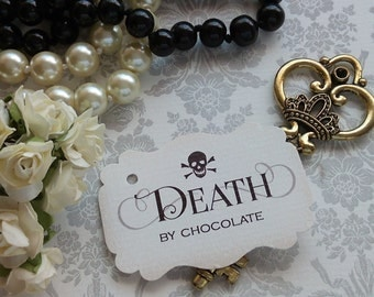 Set of 10 tags. Halloween Tags. Halloween labels.Death by Chocolate Tags. Black Tags. Gothic Tags. Chocolate. Candy Tags. Halloween Wedding.