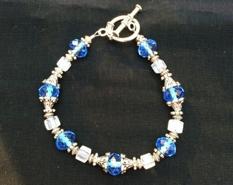Blue Crystal Beaded Bracelet