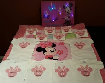 Month By Month Personalized Minnie onesies