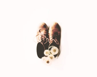 Minimal still life photography, old boots and dandelions, dandelion art, white fine art print, whimsical wall art, home decor, wall decor