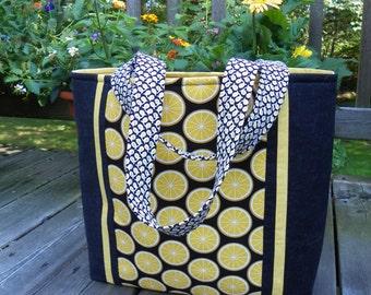 Yellow and Black Lemon Print Tote Bag