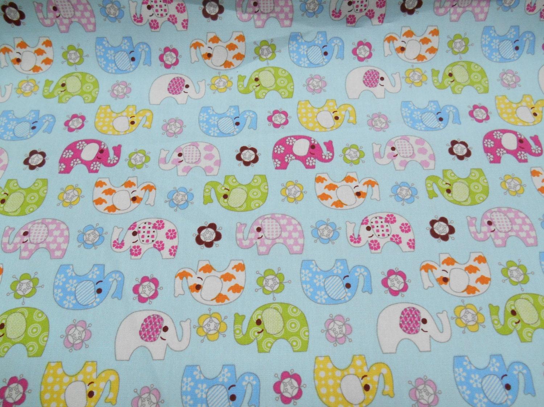 Blue cotton fabric elephants nursery fabric boys shower for Nursery fabric uk