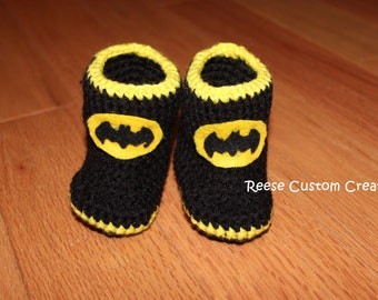 Crochet Baby Boy Batman Shoes- Newborn size- 3 - 4 Week Lead time