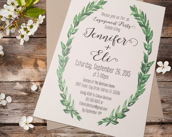 Rustic engagment Party Invites **Printed invitation (envelopes included)**