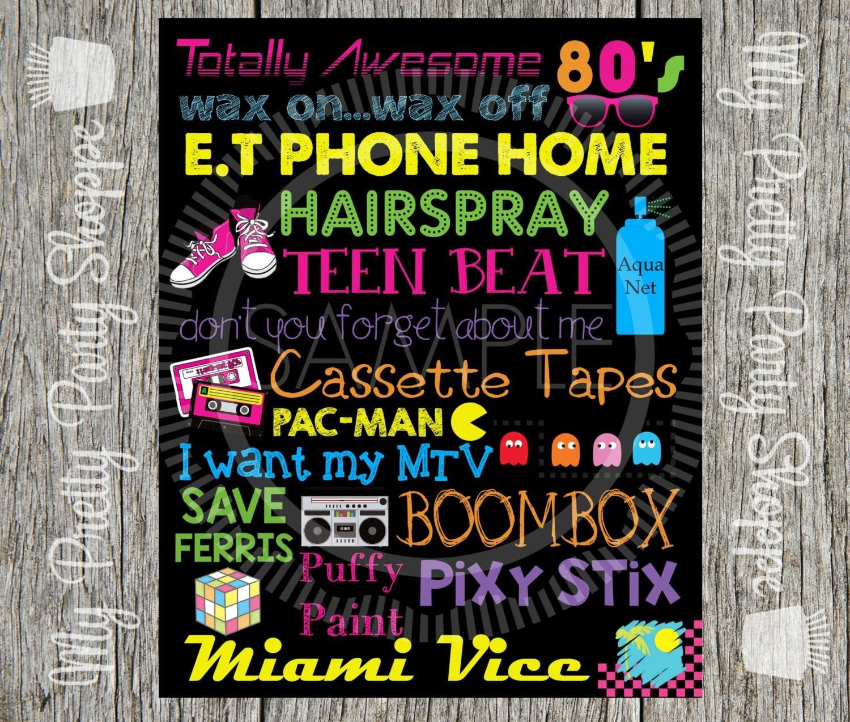 Subway art invite – 80s Party Invite Template